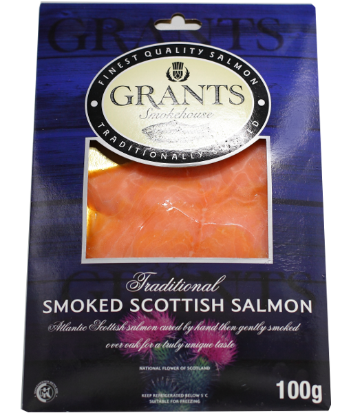 Frozen Smoked salmon from Scotland - 100g